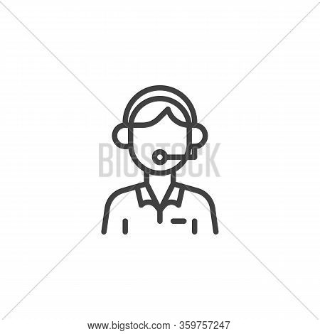 Customer Service Operator Line Icon. Man With Headset Linear Style Sign For Mobile Concept And Web D