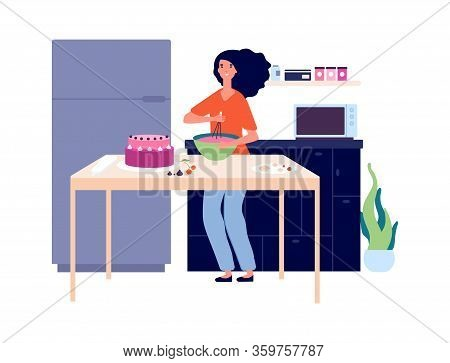Baking Workshop. Girl Cooking Pie, Bakery Kitchen. Birthday Festive Eating, Sweet Cake And Happy Fem