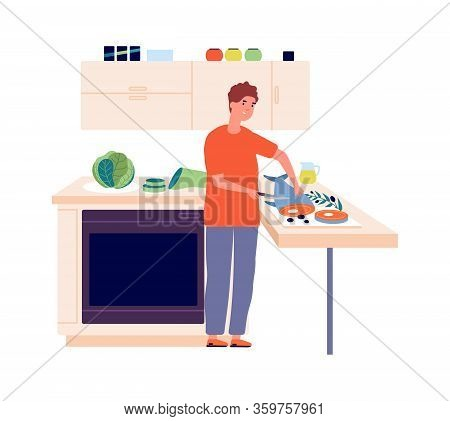 Man Chef. Guy Cutting Fish In Kitchen. Cooking, Healthy Eating And Diet. Isolated Male Character Coo