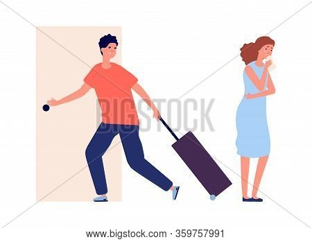 Man Leaves Home. Family Quarrel, Crying Woman. Divorce, Depression And Negative People Vector Illust