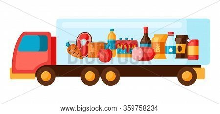 Illustration Of Truck With Food. Delivery To Grocery Supermarket.