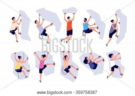Climbing People. Woman Man Extreme Adventure. Male Climbs Wall, Strong Sport. Person On Mountain Or