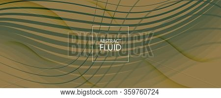 Green Landing Page Design. Abstract Fluid Line Pattern. Color Digital Movement. Army Gradient Illust