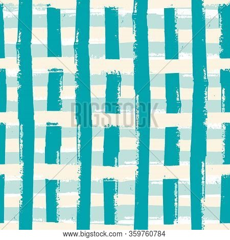 Isolated Painterly Line Seamless Vector Pattern Background. Broken Up Grunge Texture Stripe Geometri