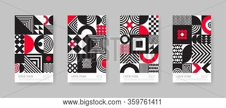 Poster Set With Geometric Shapes And Pattern. Trendy Black And White Design With Red Accents. Monoch