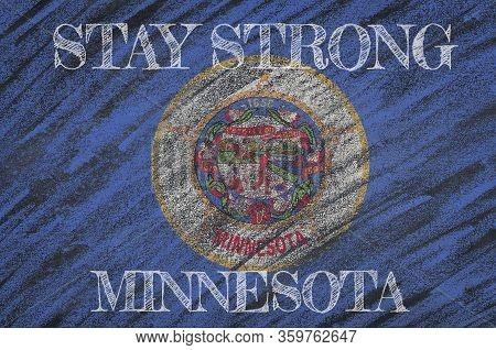 Covid-19 Warning. Quarantine Zone Covid 19 On Minnesota ,flag Illustration. Coronavirus Danger Area,