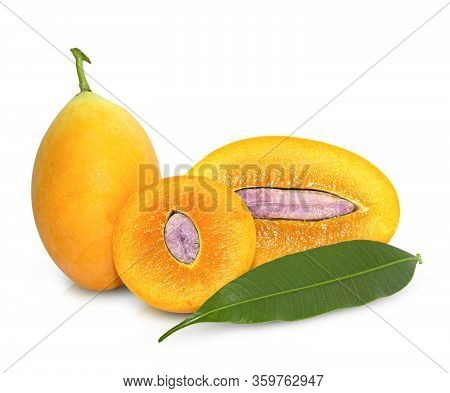 Maprang Fruit (marian Plum, Plum Mango) Isolated On White Background. With Clipping Path