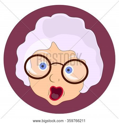 Flat Icon, Emotion Will Be Scared . Granny With Glasses And A Scared Face. Emotions Of An Old Woman.