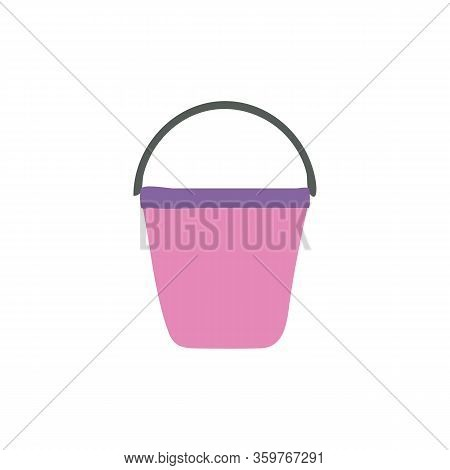 Pink Plastic Bucket Isolated On White Background. A Bucketful For Washing Food, Storage Water. House