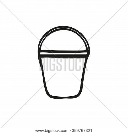 Bucket Isolated On White Background. A Bucketful For Washing Food, Storage Water. Household Chores A