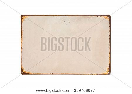 Vintage metal sheet banner with white background and rusted edge isolate on white background
