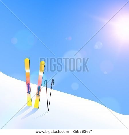 Ski Resort. Skiing On Hillside Solar Flares And Glare. Vector