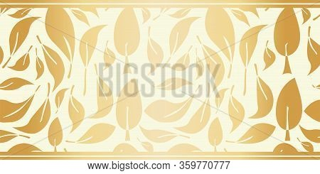 Gold Foil Abstract Leaves Seamless Vector Pattern Border Modern Hand Drawn Nature Symbol Metallic Bl