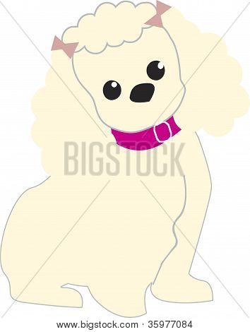 A dog with a pink collar and bows in her hair poster