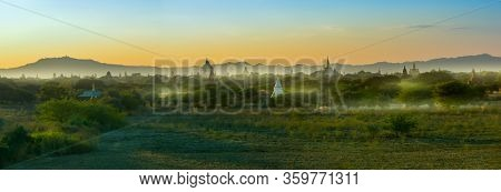 Bagan Myanmar Buddhist Temples And Stupas Shrouded In Morning Mist