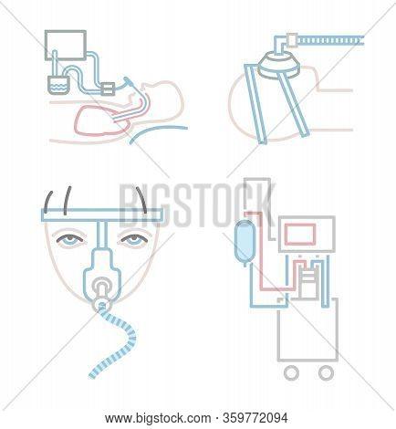 Mechanical Lung Ventilation Icon. Pulmonary Procedure Pictogram. Symbols Collection. Tachypnea. Medi