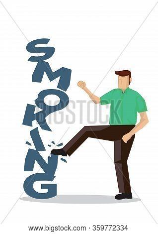 Man Break Smoking Blocks Into Pieces. Concept Of Quit Smoking Or Tobacco Addiction. Vector Illustrat