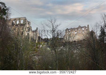 Ruins of castle and monastery in Oybin, Germany