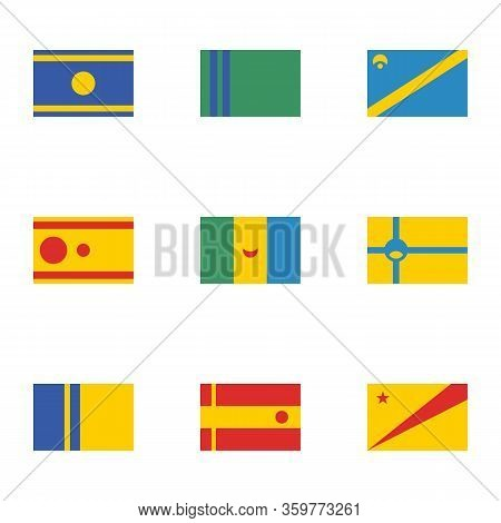 Set Of Fictional Flags. World Fantasy Flags For Fiction. Unrealistic Made Up Flags.