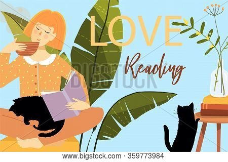 Love Reading Books Background Print Flyer Or Greeting Card Design. Woman Reading Books Drinking Cup