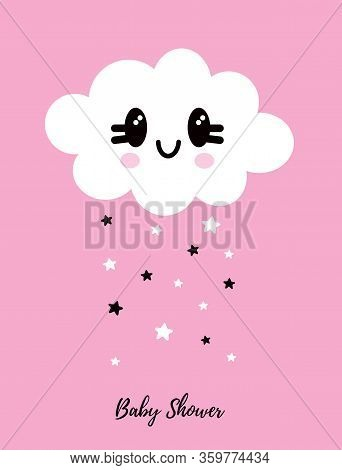 Cute Simple Baby Shower Vector Card. White Fluffy Smiling Cloud Isolated On A Light Pink Background.