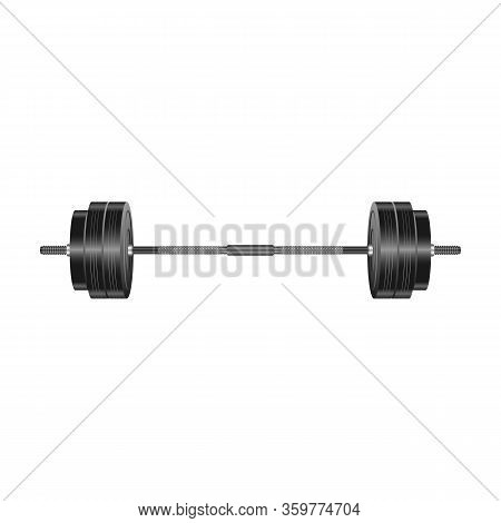 Barbell Vector Icon. Realistic Vector Icon Isolated On White Background Barbell.