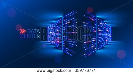 Data Center. Abstract Digital Warehouse. Server Room Of Clouds Computing Technology. Server Farm Com