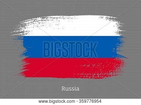 Russia Official Flag In Shape Of Paintbrush Stroke. Russian National Identity Symbol. Grunge Brush B