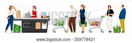 People Queue In Grocery. Food Store, People With Carts. Waiting Line To Cashier, Man Woman Elderly W
