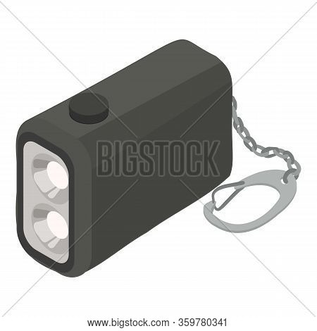 Portable Flashlight Icon. Isometric Of Portable Flashlight Vector Icon For Web Design Isolated On Wh