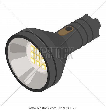 Led Flashlight Icon. Isometric Of Led Flashlight Vector Icon For Web Design Isolated On White Backgr