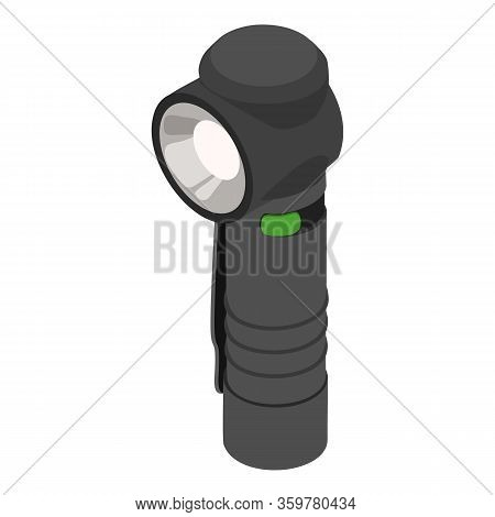 Hiker Flashlight Icon. Isometric Of Hiker Flashlight Vector Icon For Web Design Isolated On White Ba