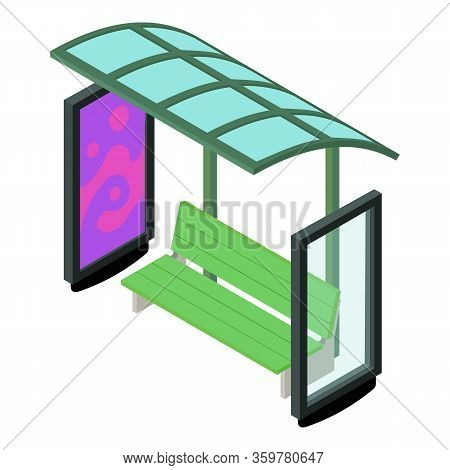 Bus Stop Shelter Icon. Isometric Of Bus Stop Shelter Vector Icon For Web Design Isolated On White Ba