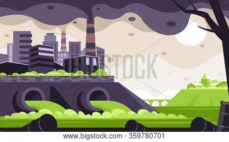 Industrial Waste Emissions. Environmental Pollution. Emission Of Combustion Products Into The Atmosp
