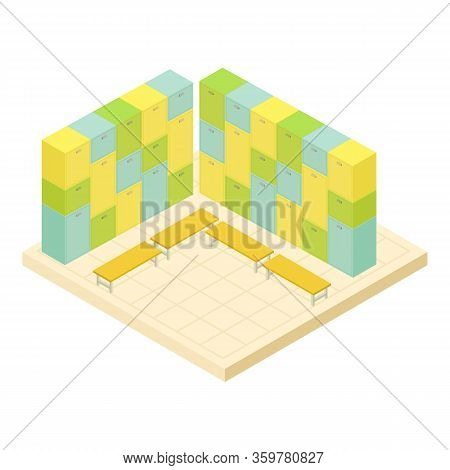 Locker Room Icon. Isometric Of Locker Room Vector Icon For Web Design Isolated On White Background