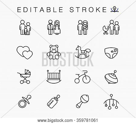Toys And Children Things Family. Vector Linear Icons Set. Children Things Outline Symbols Pack. Coll