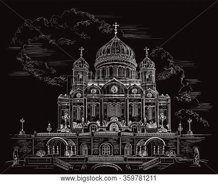 Vector Sketch Hand Drawing Illustration Cathedral Of Christ The Saviour In Moscow, Russia. Horizonta