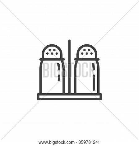 Pepper And Salt Shaker Bottles Line Icon. Linear Style Sign For Mobile Concept And Web Design. Salt