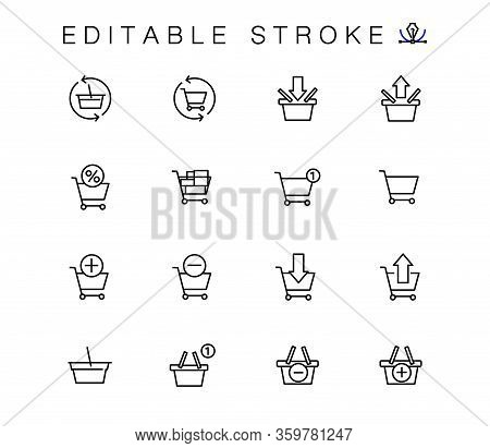 Baskets For Online Store Vector Linear Icons Set. Cart Outline Symbols Pack. Collection Of Shopping