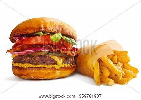 Big Fresh Classic Burger And French Fries Isolated On White Background Delivery Set Design Concept