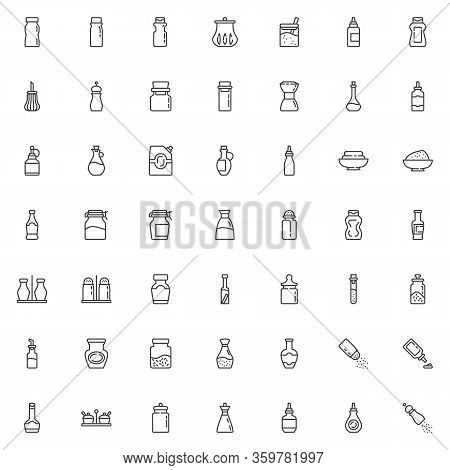 Condiment Sauces Line Icons Set. Bottles Linear Style Symbols Collection, Outline Signs Pack. Vector