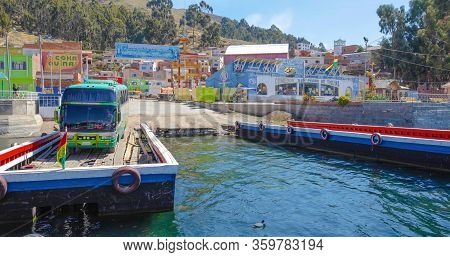 Bolivia Tiquina September 23 This Wooden Ferry Carrying A Bus To Cross The Tiquina Strait In Lake Ti