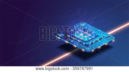 Futuristic Microchip Processor With Lights On The Blue Background. Quantum Computer, Large Data Proc