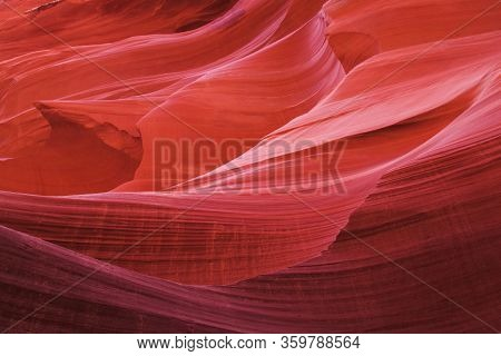 Antelope Canyon, Navajo Land East Of Page, Arizona. Perfect Natural Gradient Trendy Vibrant Colors.