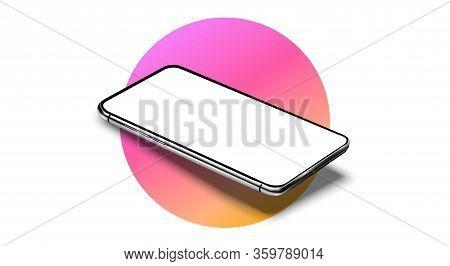 Realistic Smartphone Mockup Set. Mobile Phone Blank, White, Transparent Screen Design. Modern Digita