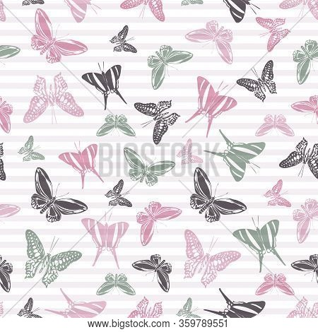 Flying Simple Butterfly Silhouettes Over Striped Background Vector Seamless Pattern. Girlish Fashion