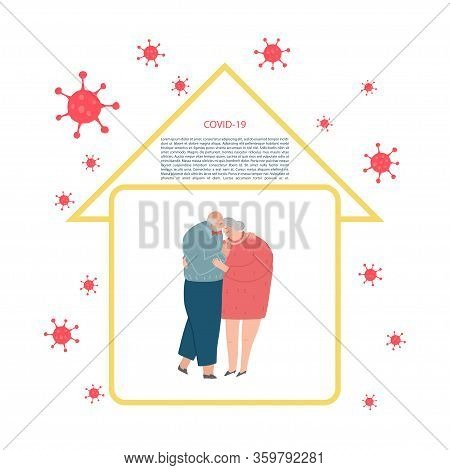 Self-quarantine Concept. Senior Pare At Home During An Outbreak Of The Covid-19 Virus. Prevent Infec