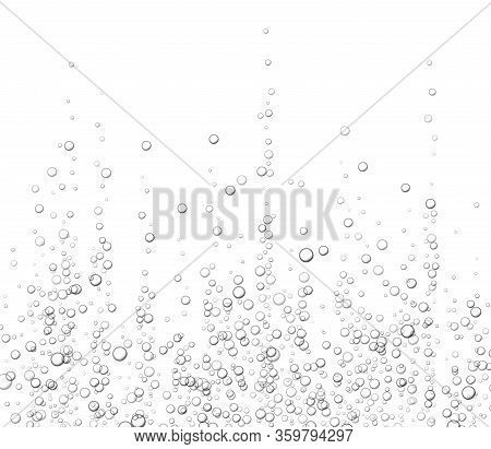 Underwater Fizzing Bubbles, Soda Or Champagne Carbonated Drink, Sparkling Water Isolated On White Ba