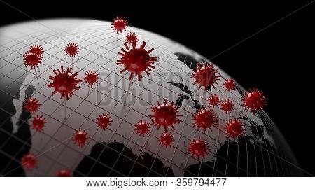 Corona Virus Pin On Earth Globe Map,3D Illustration