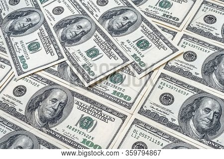 Pile Of Hundred Dollars. Us Dollars Background. A Lot Of Banknotes Hundred Dollar Bills. American Cu